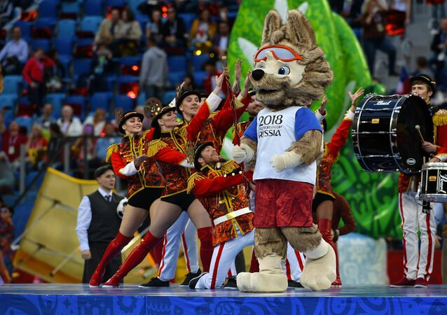 Zabivaka the Wolf, an official mascot of the 2018 FIFA World Cup and the 2017 FIFA Confederations Cup, during the 2017 FIFA Confederations Cup closing ceremony in St. Petersburg