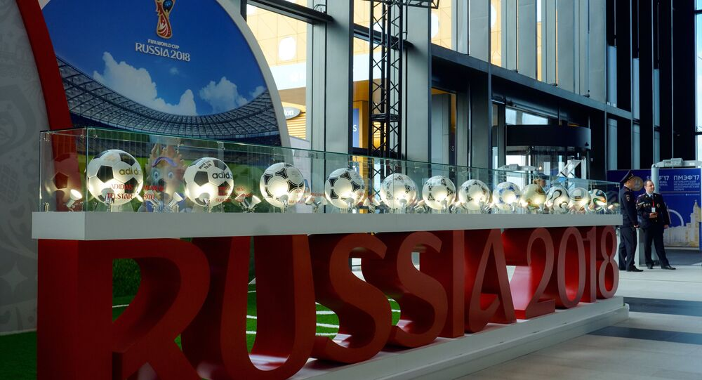 The 2018 FIFA World Cup stand ahead of the 2017 St. Petersburg International Economic Forum (SPIEF). (File)