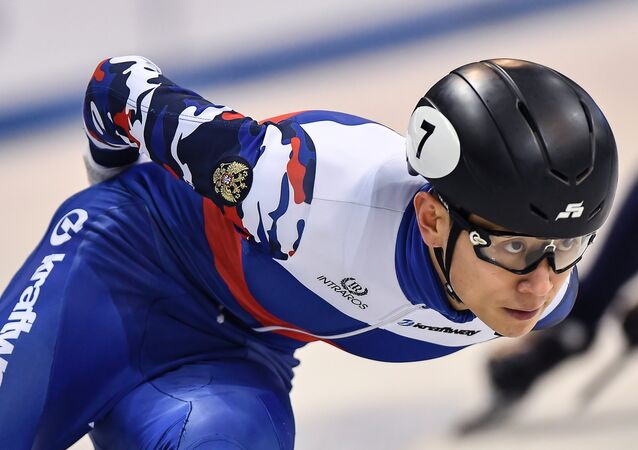 Viktor An (Russia) during the men's 5000 meter relay semi-final heat at the European Short Track Speed Skating Championships in Dresden