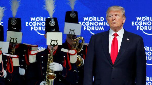 U.S. President Donald Trump is seen before his speech during the World Economic Forum (WEF) annual meeting in Davos, Switzerland January 26, 2018 - Sputnik International
