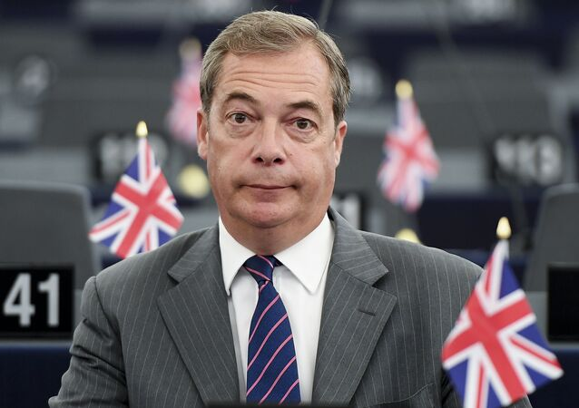 Former leader of the UK Independence Party (UKIP) Nigel Farage attends a meeting at the European Parliament in Strasbourg, eastern France, on June 14, 2017, ahead of the upcoming European Council.