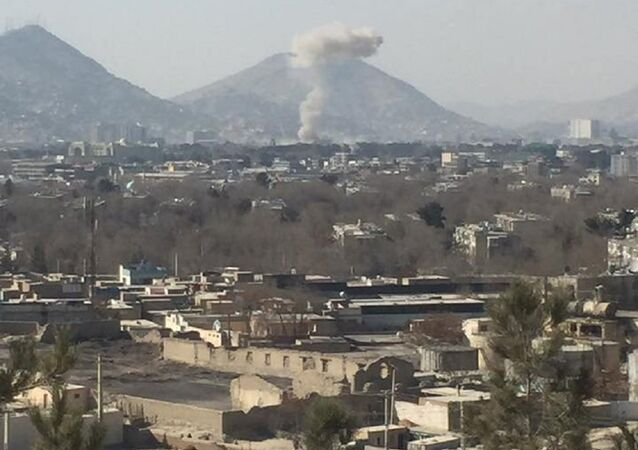 Smoke rises after a car bomb explosion in Kabul, Afghanistan January 27, 2018 in this image obtain from social media