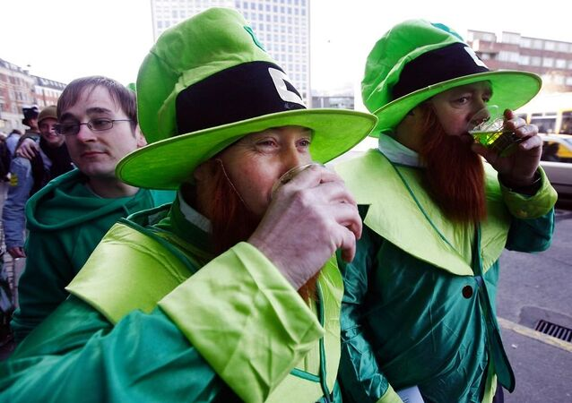 Fake beards on show in Copenhagen during St. Patrick's Day celebrations in 2007