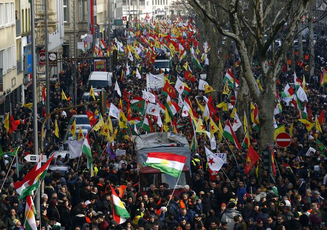 Pro-Kurdish people protest against the Turkish offensive in northwest Syria during a demonstration in Cologne, Germany, January 27, 2018