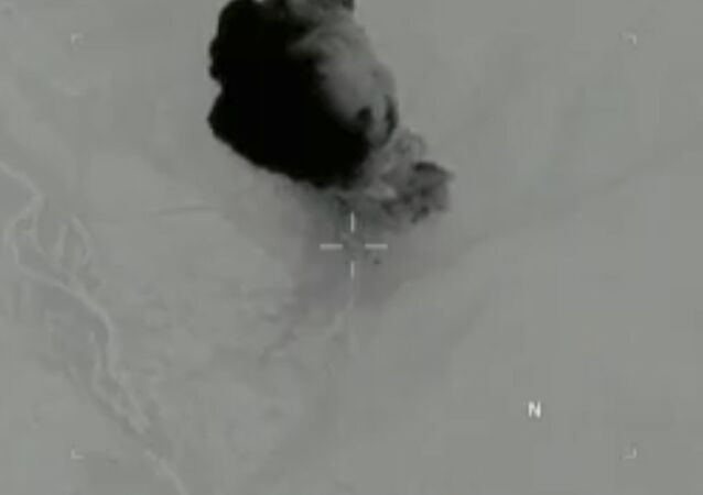 Plume of smoke rising from an April 13, 2017 GBU-43/B Massive Ordnance Air Blast bomb strike in the Achin district of the Nangarhar Province in eastern Afghanistan.