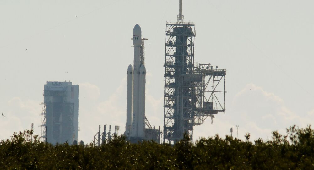 SpaceX's first Falcon Heavy rocket sits on launch pad 39A at Kennedy Space Center, waiting for the first engine test firing it's 27 engines together, in Cape Canaveral, Florida