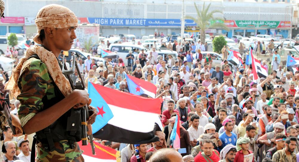 Supporters of the southern Yemeni separatists demonstrate against the government in Aden, Yemen January 28, 2018