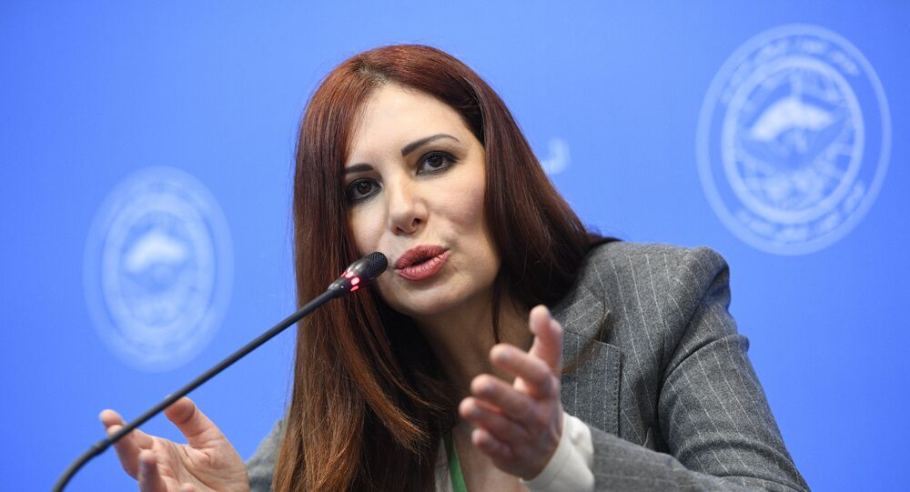 Representative from the Astana platform of the Syrian opposition Randa Kassis at the Syrian National Dialogue Congress in Sochi.