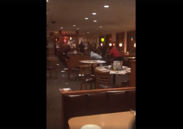 Fight breaks out at a Denny's establishment in Vineland, New Jersey