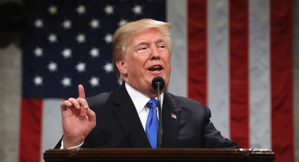 U.S. President Donald Trump delivers his first State of the Union address to a joint session of Congress inside the House Chamber on Capitol Hill in Washington, U.S., January 30, 2018