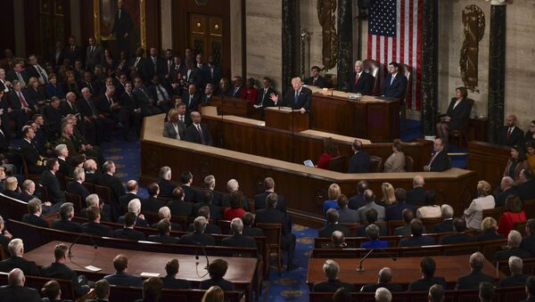 President Donald Trump delivers his State of the Union address to a joint session of Congress on Capitol Hill in Washington, Tuesday, Jan. 30, 2018 - Sputnik International