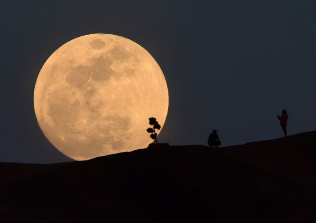 A person poses for a photo as the moon rises over Griffith Park in Los Angeles, California, on January 30, 2018
