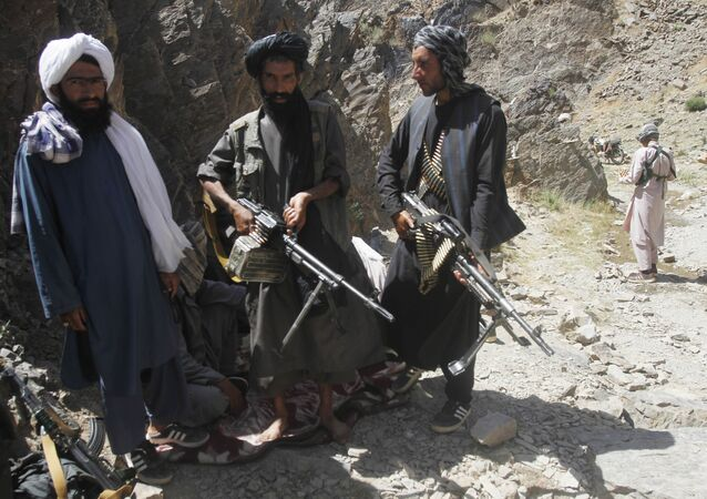 Members of a breakaway faction of the Taliban fighters guard during a patrol in Shindand district of Herat province, Afghanistan (File)
