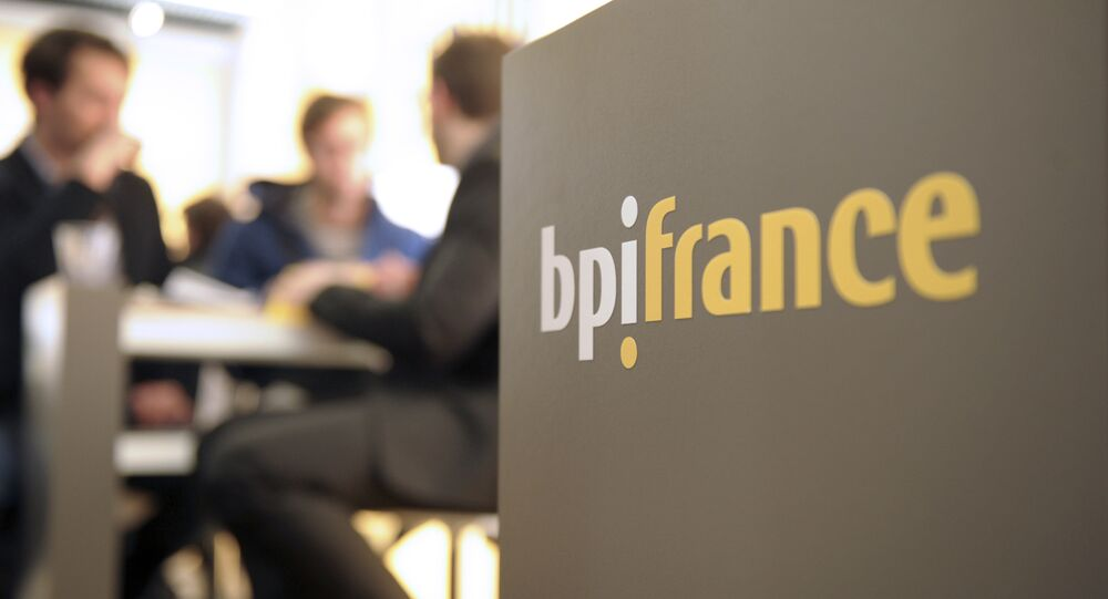 The logo of bpifrance at the Salon des Entrepreneurs (entrepreneurship fair) in Paris (File)