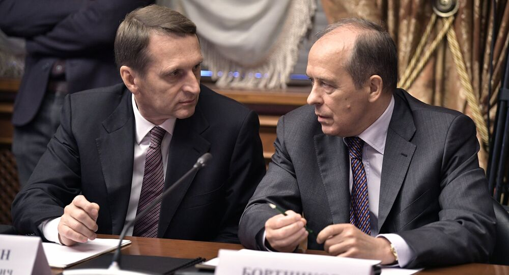 September 19, 2017. Russian Foreign Intelligence Service Director Sergei Naryshkin, left, and Federal Security Service Director Alexander Bortnikov before a meeting of the Military-Industrial Commission at the Almaz-Antey air defense system company