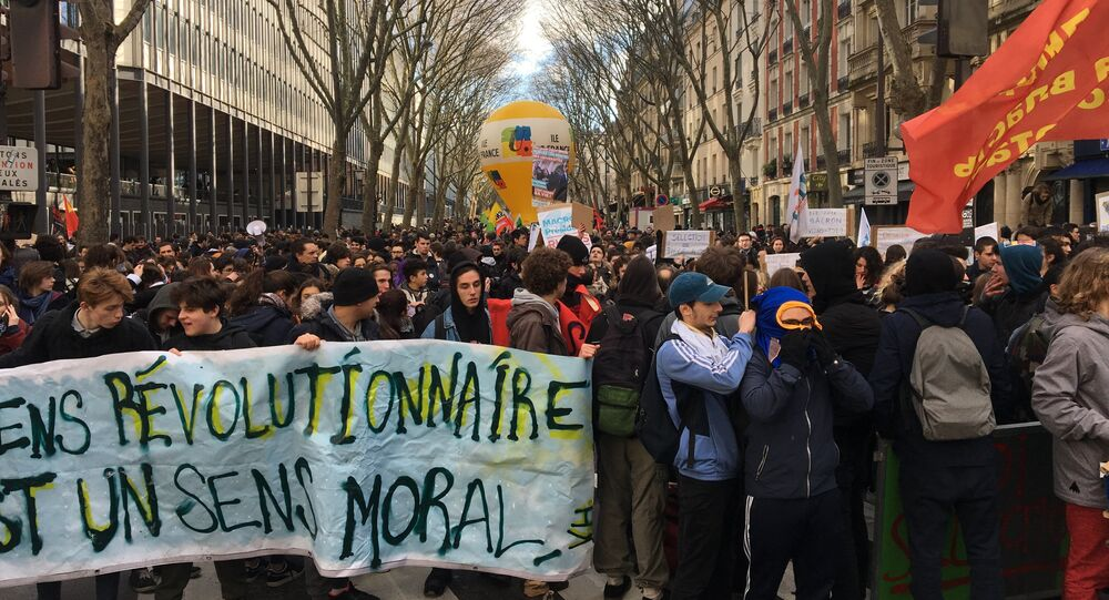 Protests in Paris against the government's education reform initiatives