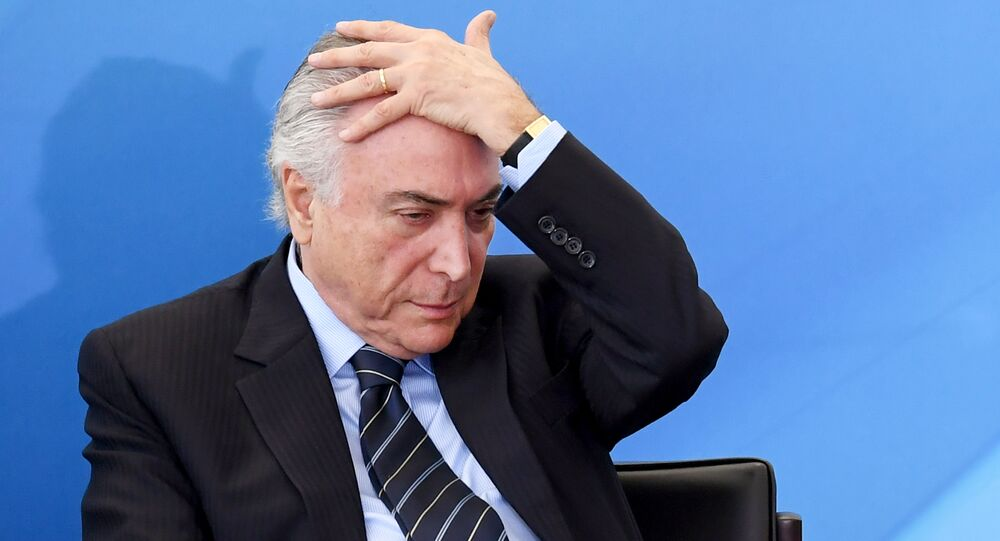 Brazilian President Michel Temer attends a public health investment announcement event at Planalto Palace in Brasilia on July 13, 2017