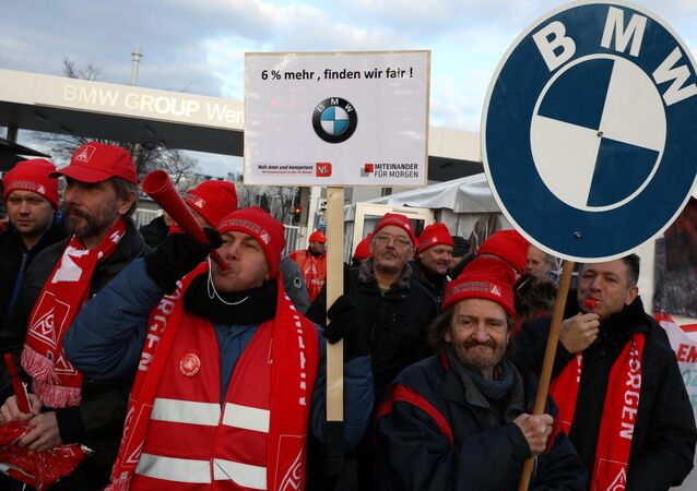 BMW workers during a 24-hour strike by German industrial trade union IG Metall in Berlin, Germany, February 2, 2018