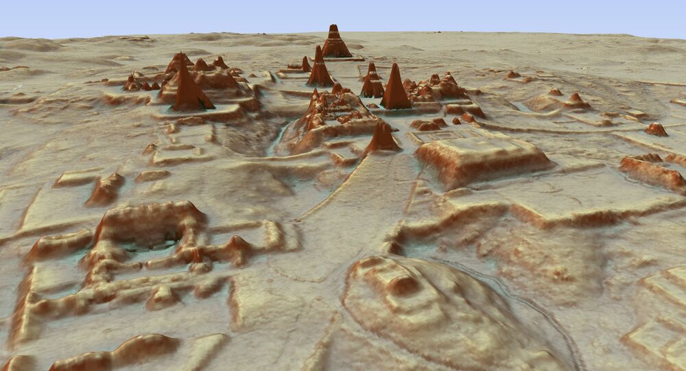This digital 3D image provided by Guatemala's Mayan Heritage and Nature Foundation, PACUNAM, shows a depiction of the Mayan archaeological site at Tikal in Guatemala created using LiDAR aerial mapping technology. Researchers announced Thursday, Feb. 1, 2018, that using a high-tech aerial mapping technique they have found tens of thousands of previously undetected Mayan houses, buildings, defense works and roads in the dense jungle of Guatemala's Peten region, suggesting that millions more people lived there than previously thought