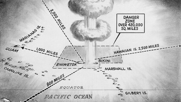 This April 27, 1956, file photo shows the area in which the United States hydrogen bomb tests will take place in the Pacific Ocean. North Korea said it successfully detonated a hydrogen bomb in its latest nuclear test Sunday, Sept. 3, 2017. Outside experts haven't been able to verify that claim, but say it's plausible. If true, it would represent a major step forward in North Korea's effort to develop a nuclear weapon capable of reaching the United States. - Sputnik International