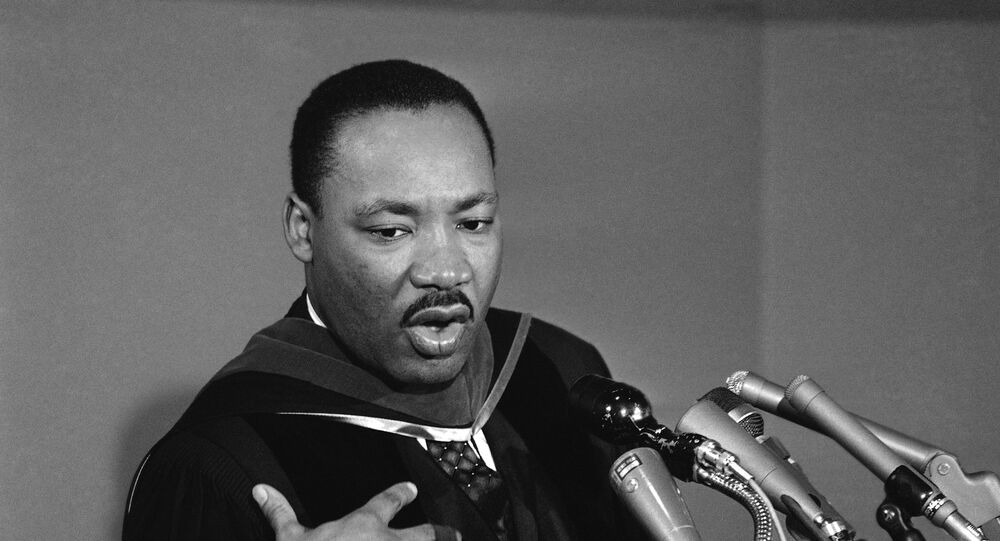 Dr. Martin Luther King during news conference following a Howard University address during the university's charter day observance in Washington on March 2, 1965