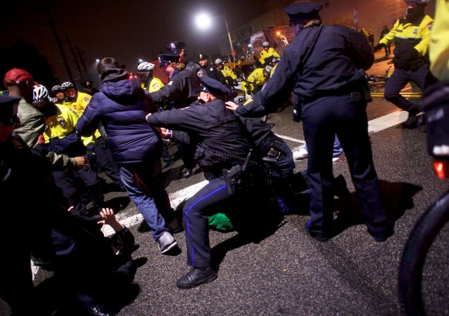 Police clash with fans celebrating the Philadelphia Superbowl LII victory over the New England Patriots in Philadelphia, Pennsylvania U.S. February 5, 2018