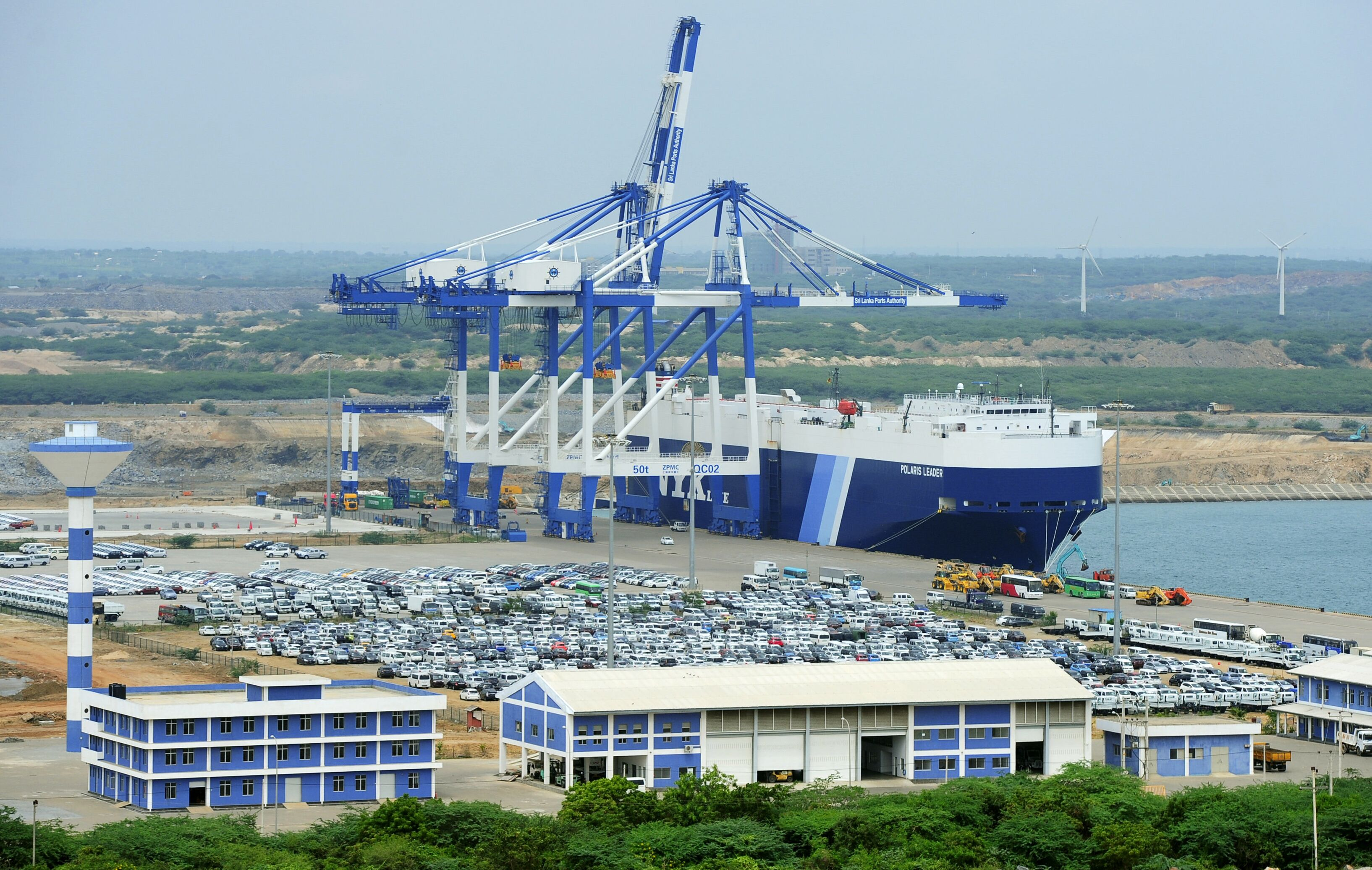 In this photograph taken on February 10, 2015, shows a general view of the port facility at Hambantota