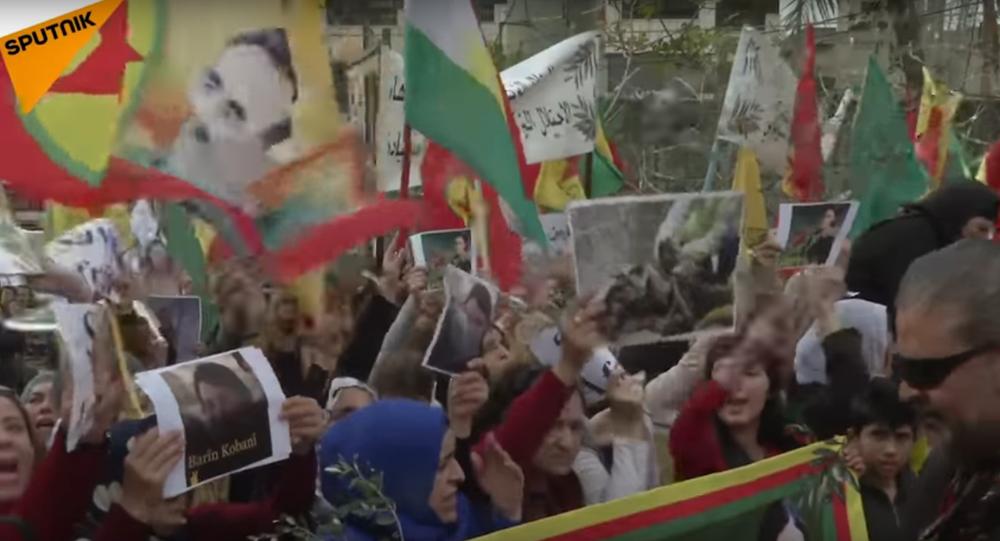 Pro-Kurdish Activists Protest Outside US Embassy In Beirut