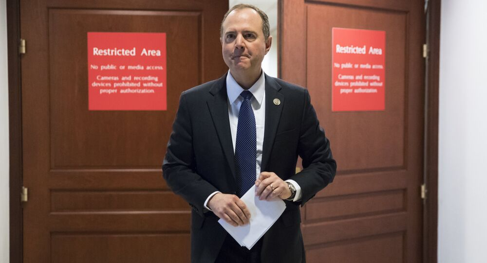 Rep. Adam Schiff, D-Calif., ranking member of the House Permanent Select Committee on Intelligence, leaves a secure area where the panel meets as Democrats seek to push back against a classified memo released by Republicans last week questioning the methods used by the FBI to apply for a surveillance warrant on a onetime associate of the Trump campaign, at the Capitol in Washington, Monday, Feb. 5, 2018.