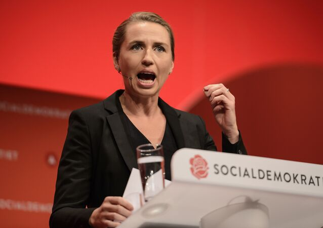 Danish Social Democrats chairman Mette Frederiksen during her opening speech Friday, Sep. 23. 2016 at the Social Democratic Party's Congress 2016 in Aalborg, Denmark