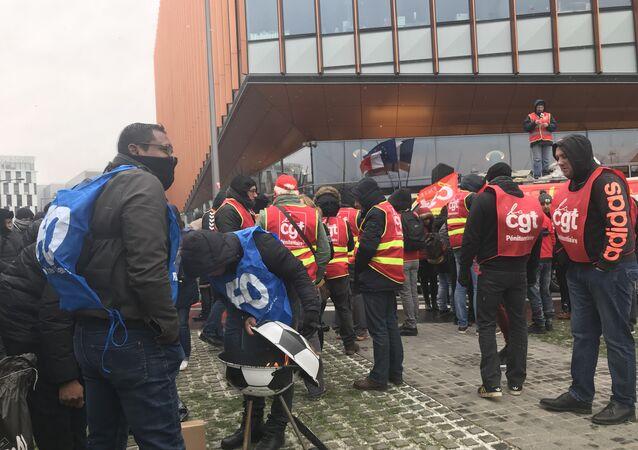 French prison guard union SNP-FO protests in Paris, February 5, 2018