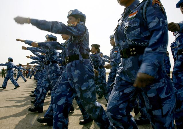 The United Nations' first all-female peacekeeping force of more than 100 Indian policewomen walks upon arrival at Roberts international airport in Monrovia. (File)