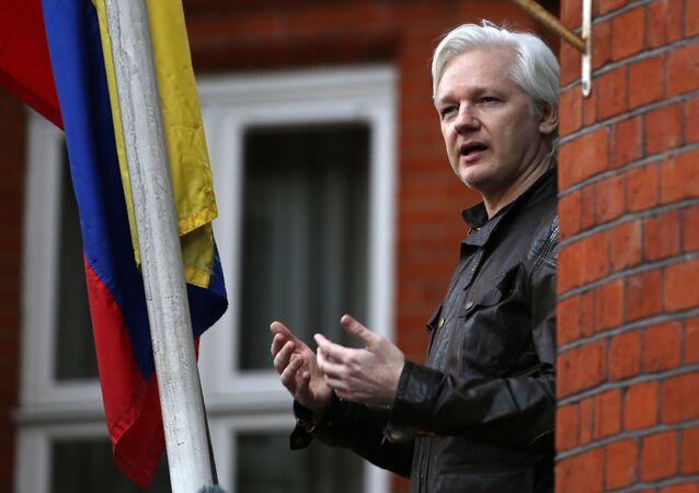 Wikileaks founder Julian Assange speaking on the balcony of the Embassy of Ecuador in London. (File)