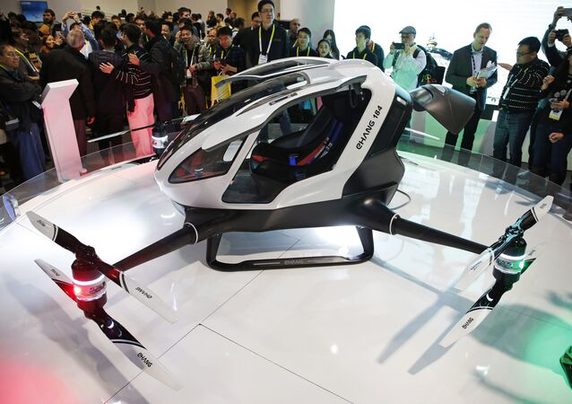 The EHang 184 autonomous aerial vehicle is unveiled at the EHang booth at CES International in Las Vegas. (File)