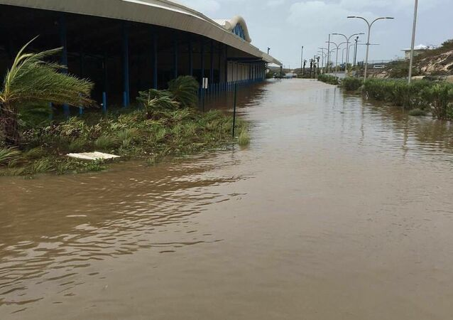 The main airport on Providenciales in the Turks and Caicos Islands after Hurricane Irma