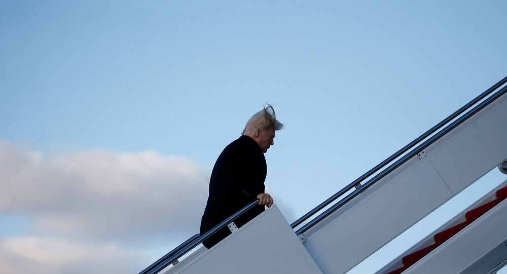 President Donald Trump arrives to board Air Force One for travel to Palm Beach from Joint Base Andrews, Maryland, U.S., February 2, 2018.