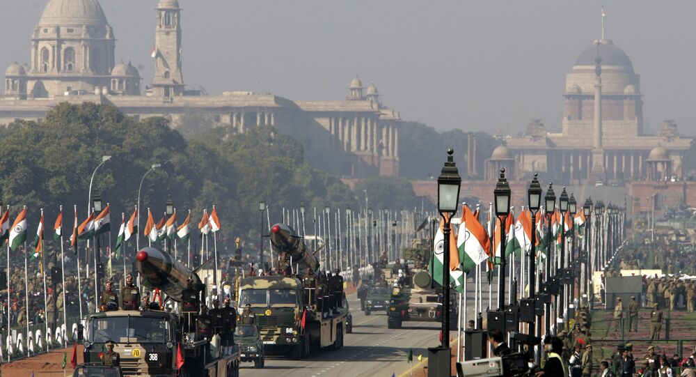In this Jan. 23, 2006 file photo, indigenously developed medium range missiles Agni-I, left, and Agni-II, right, are displayed during Republic Day rehearsals, in the backdrop of the presidential Palace in New Delhi, India. India successfully tested a medium-range version of its most powerful nuclear-capable missile on Thursday, Nov. 25, 2010, as part of an army training exercise Defense Ministry spokesman Sitanshu Kar said. The upgraded Agni-1, with a 435-mile (700-kilometer) range, was fired from a testing range on an island off the eastern state of Orissa, Kar said.