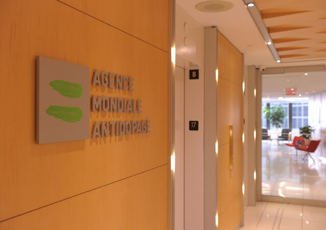 Logo of World Anti-Doping Agency or Agence Mondiale Antidopage (WADA) at the headquarter of the organisation in Montreal. (File)