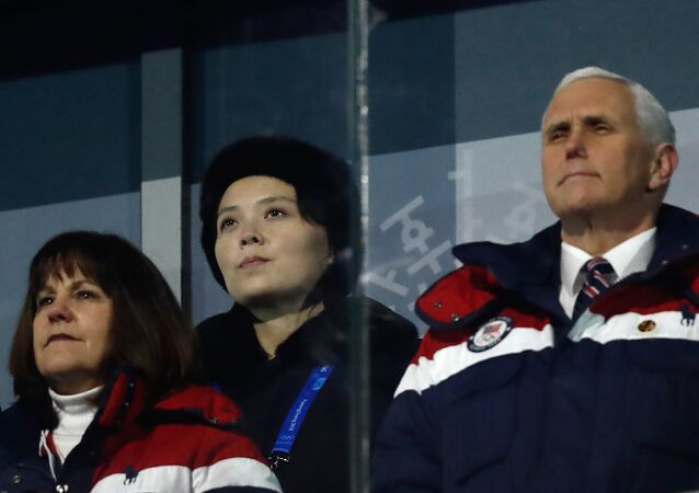 US Vice President Mike Pence (R), North Korea's Kim Jong Un's sister Kim Yo Jong (C) and wife of US Vice President Karen Pence attend the opening ceremony of the Pyeongchang 2018 Winter Olympic Games at the Pyeongchang Stadium