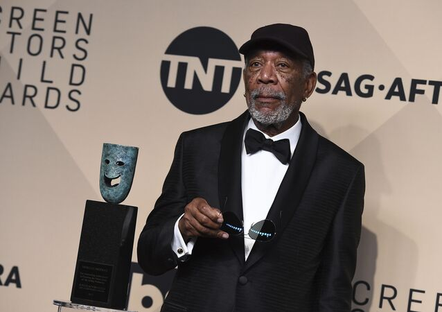 Morgan Freeman poses with his Life Achievement Award in the press room at the 24th annual Screen Actors Guild Awards at the Shrine Auditorium & Expo Hall on Jan. 21, 2018, in Los Angeles