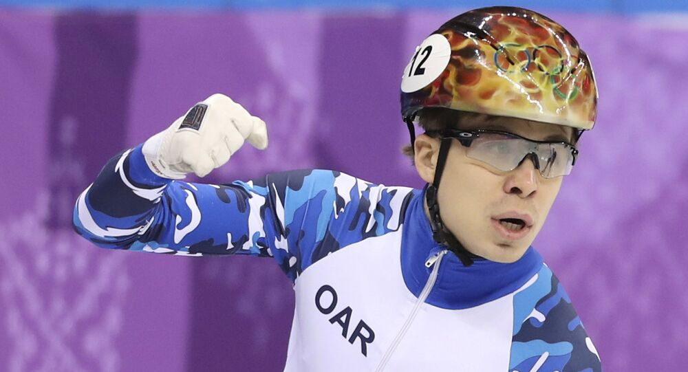 Short Track Speed Skating Events – Pyeongchang 2018 Winter Olympics – Men's 1500m Semifinal – Gangneung Ice Arena - Gangneung, South Korea – February 10, 2018 - Semen Elistratov, Olympic athlete from Russia, reacts