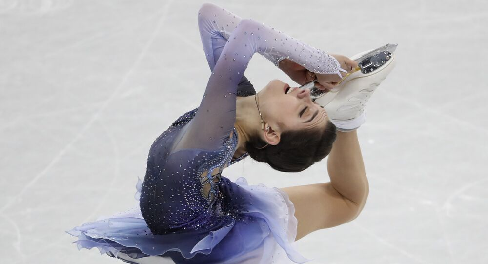 Figure Skating – Pyeongchang 2018 Winter Olympics – Team Event Women Single Skating short program – Gangneung Ice Arena - Gangneung, South Korea – February 11, 2018 - Evgenia Medvedeva, an Olympic athlete from Russia, competes