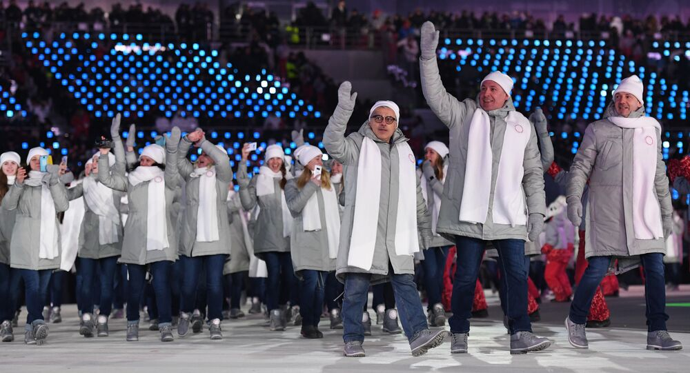 Olympic Athletes from Russia (OAR) parade during the opening ceremony of the Pyeongchang 2018 Winter Olympic Games at the Pyeongchang Stadium on February 9, 2018