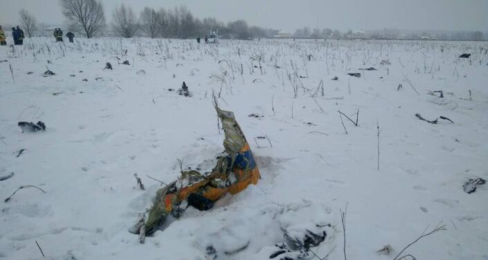 A view shows a scene where a short-haul regional Antonov AN-148 crashed after taking off from Moscow's Domodedovo airport, outside Moscow, Russia February 11, 2018