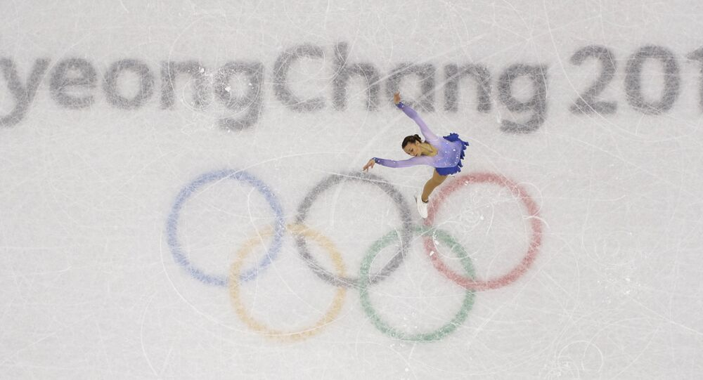 Nicole Schott, of Germany, performs in the ladies single figure skating short program in the Gangneung Ice Arena at the 2018 Winter Olympics in Gangneung, South Korea, Sunday, Feb. 11, 2018.
