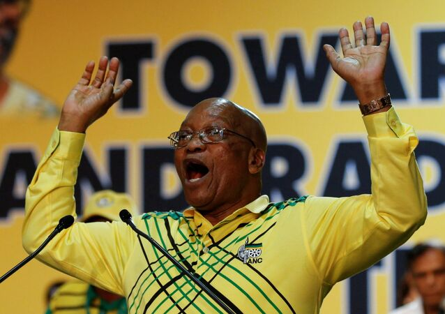 President of South Africa Jacob Zuma gestures during the 54th National Conference of the ruling African National Congress (ANC) at the Nasrec Expo Centre in Johannesburg, South Africa December 16, 2017