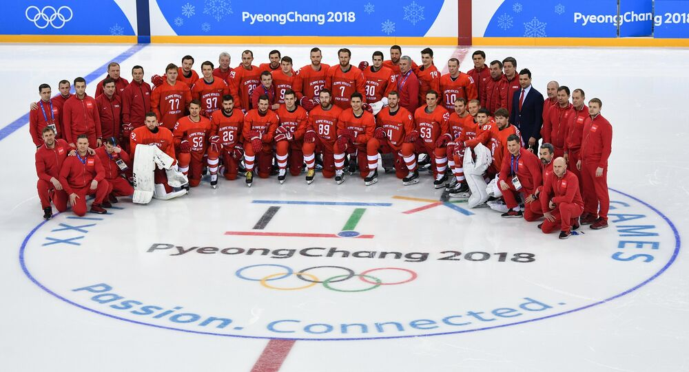 2018 Winter Olympics. Russia's hockey team's group photo session
