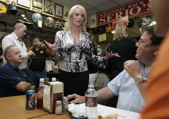Stormy Daniels visits a local restaurant in downtown New Orleans, Wednesday, May 6, 2009
