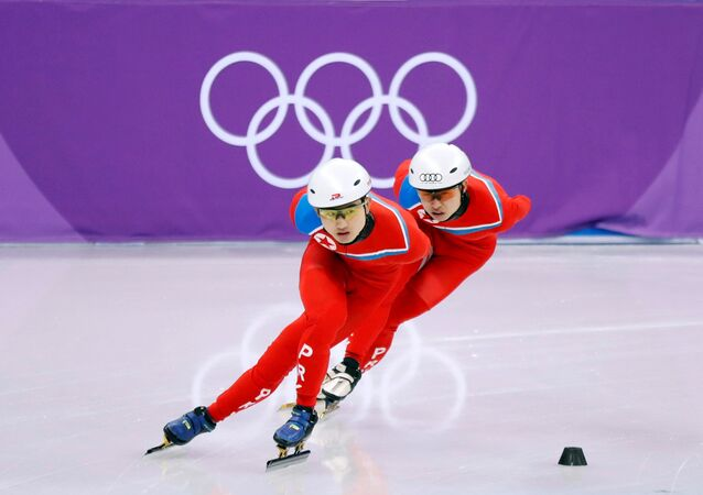 North Korea's short track speed skaters Choe Un Song and Jong Kwang Bom take part in a training session at the Gangneung Ice Arena in Gangneung, South Korea February 2, 2018