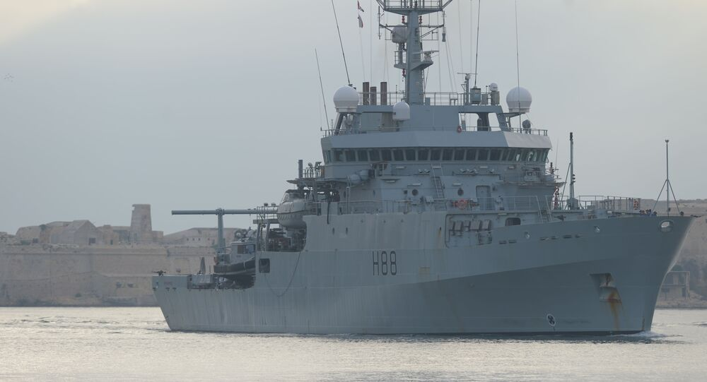 British survey ship HMS Enterprise makes its way on August 4, 2014 into the Grand Harbour, in Valletta